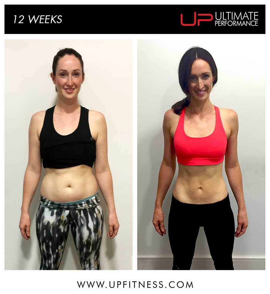 Victoria's before and after 12 weeks of Personal training in London Mayfair