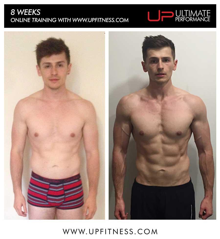 Luke's 8 week transformation on Online Personal training