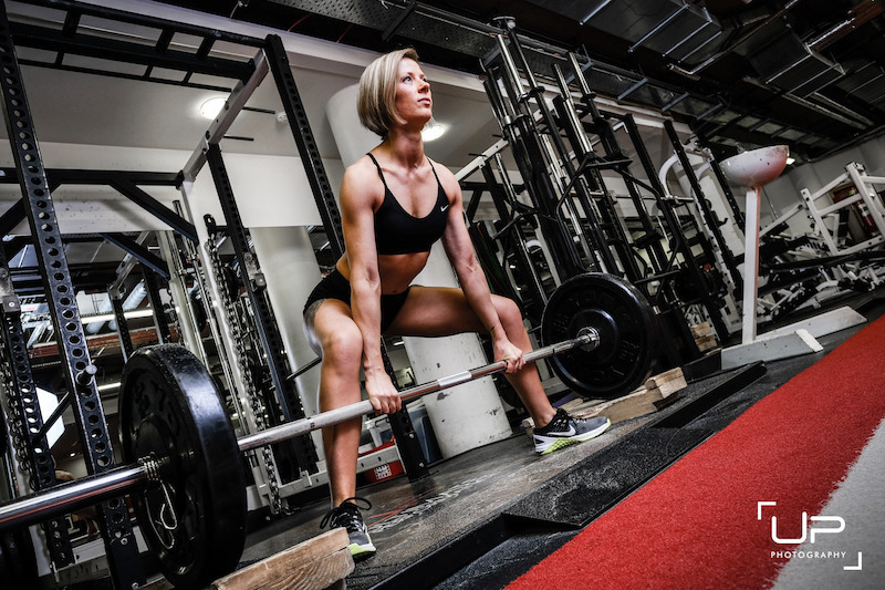 Female deadlifting at UP
