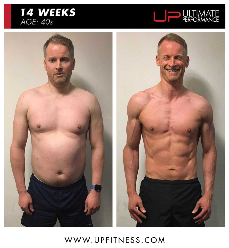 Neil 14 week male fat loss results front view