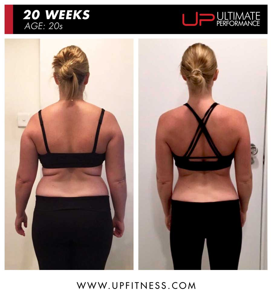 Emmy 20 weeks female fat loss back view