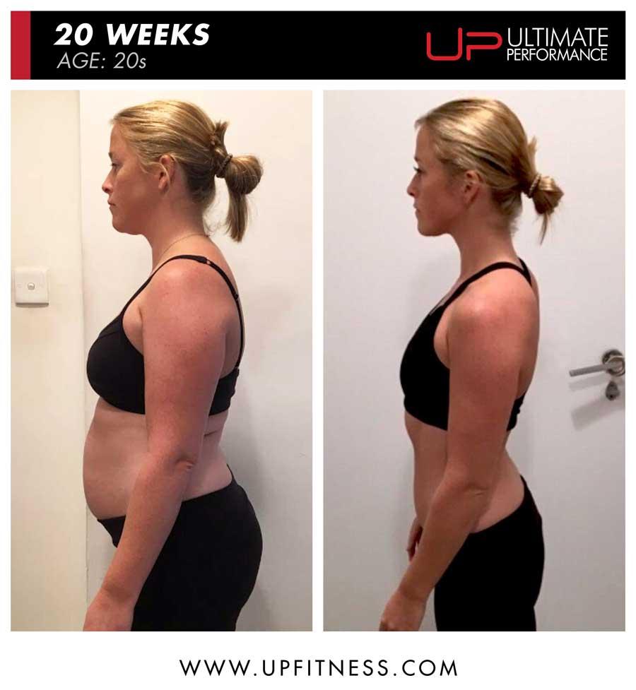 Emmy 20 weeks female fat loss side view