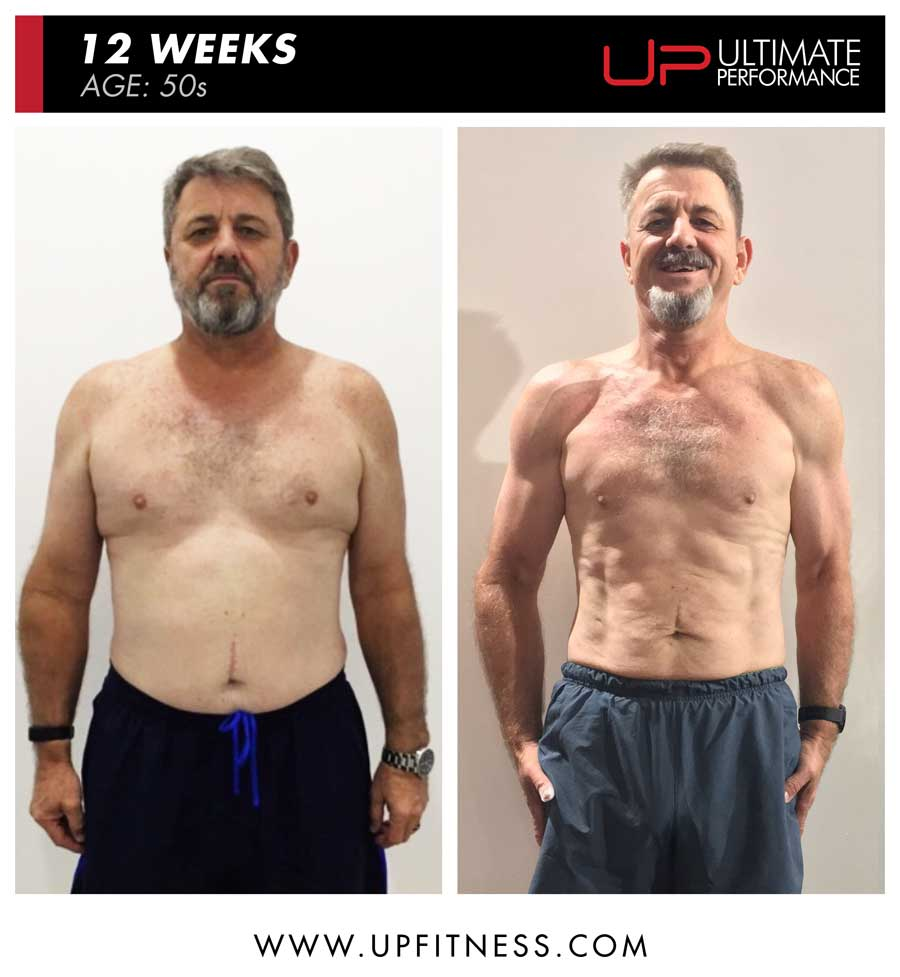 Jurgen 12 week male fat loss results - front