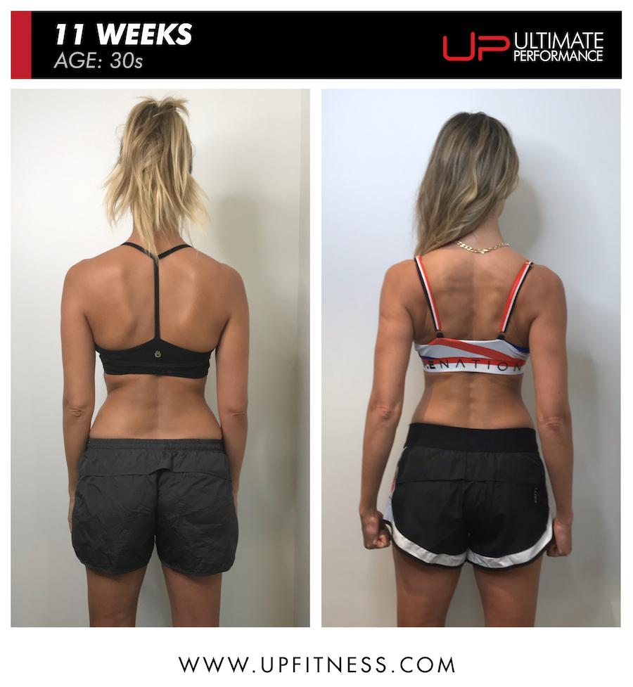 Renee 11 week female fat loss body transformation - back