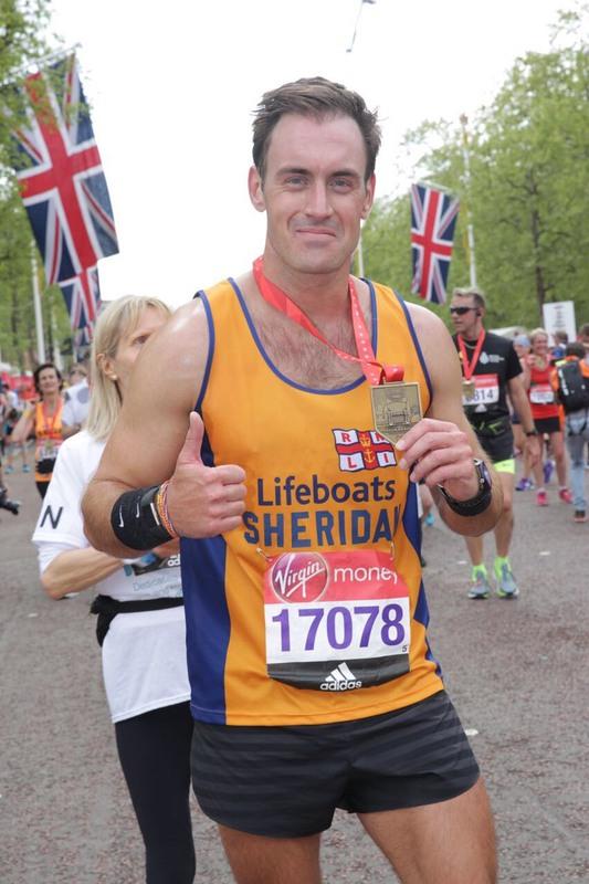 Sheridan completing a marathon