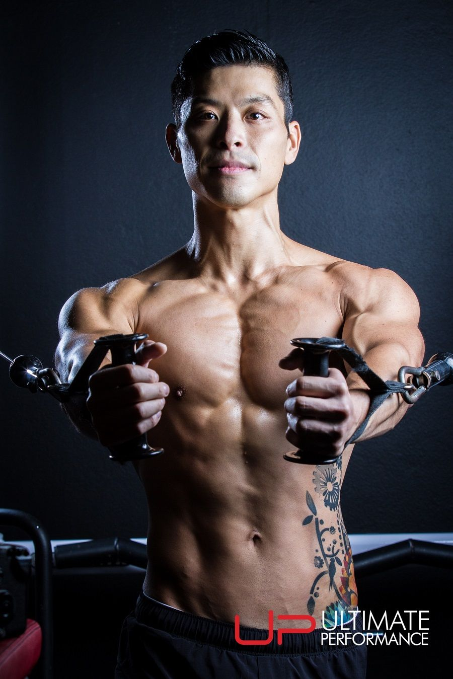 TIM Chinese man with muscle with cable flies